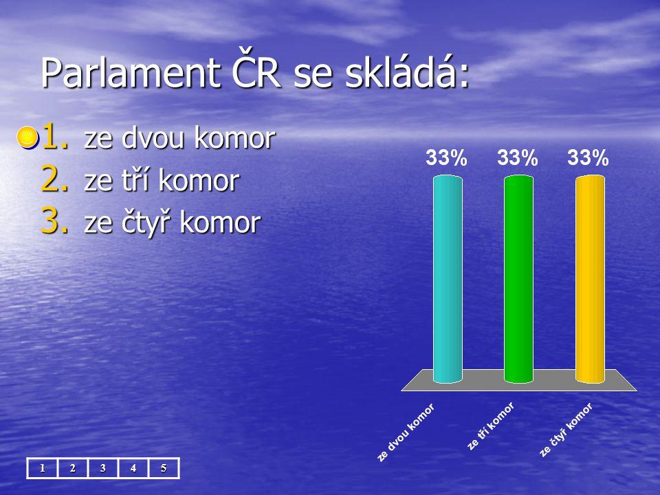 Parlament ČR se skládá: 12345 1. ze dvou komor 2. ze tří komor 3. ze čtyř komor