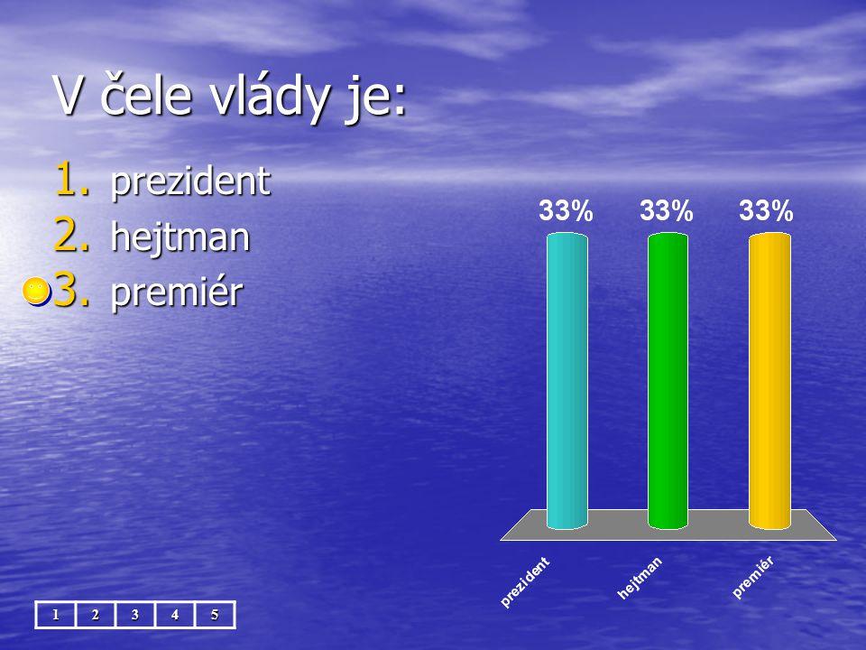 V čele vlády je: 12345 1. prezident 2. hejtman 3. premiér