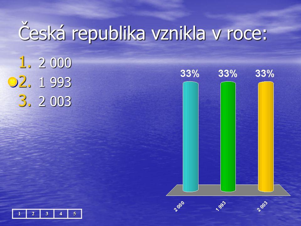 Česká republika vznikla v roce: 12345 1. 2 000 2. 1 993 3. 2 003