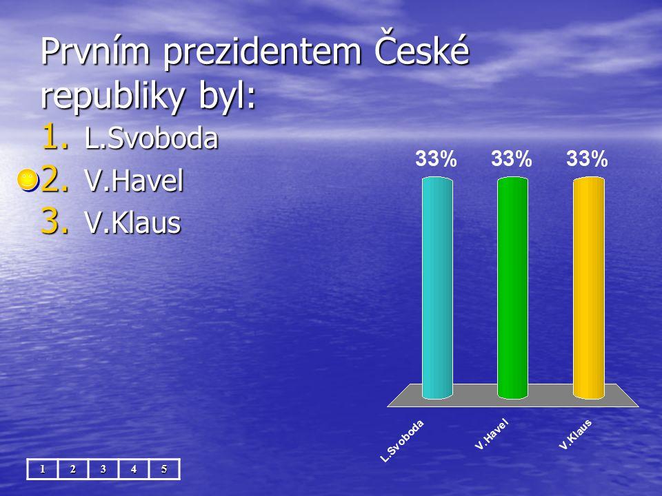 Prvním prezidentem České republiky byl: 12345 1. L.Svoboda 2. V.Havel 3. V.Klaus