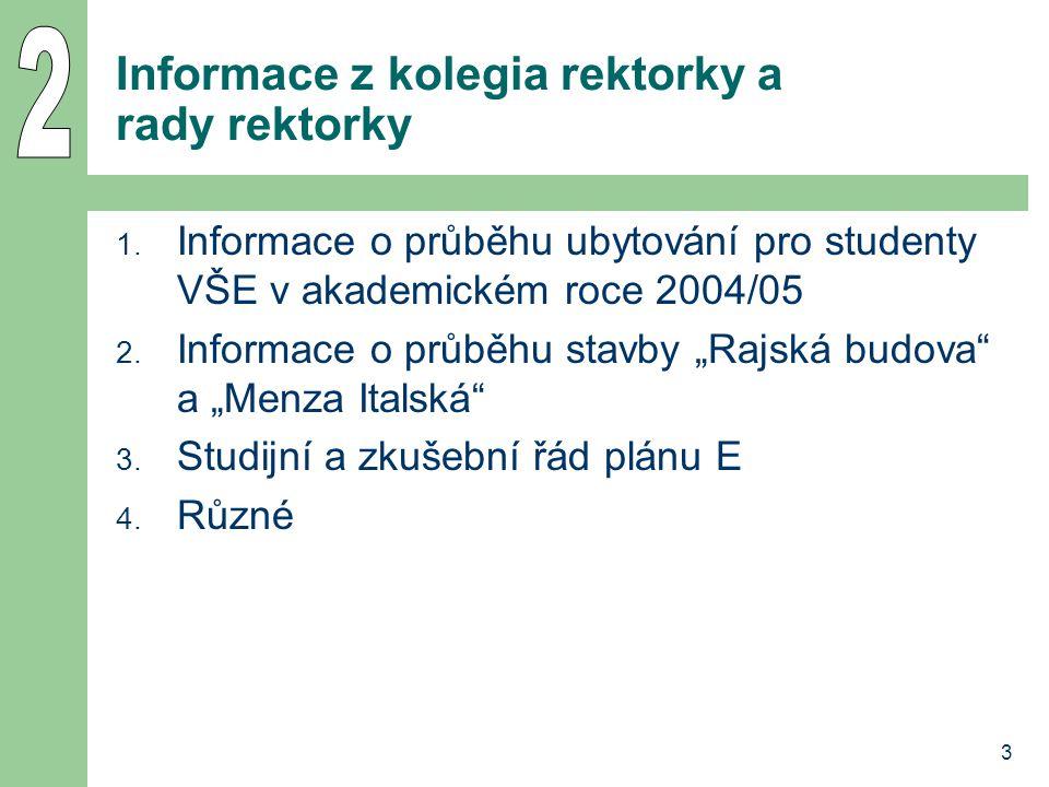 4 Ad 1: Informace o průběhu ubytování pro studenty VŠE v ak.