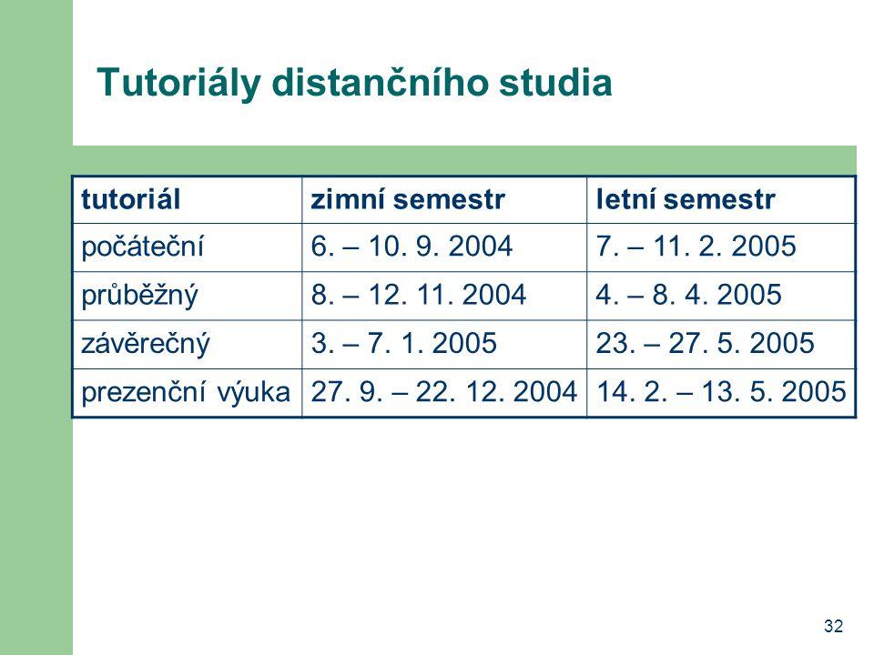 32 Tutoriály distančního studia tutoriálzimní semestrletní semestr počáteční6.