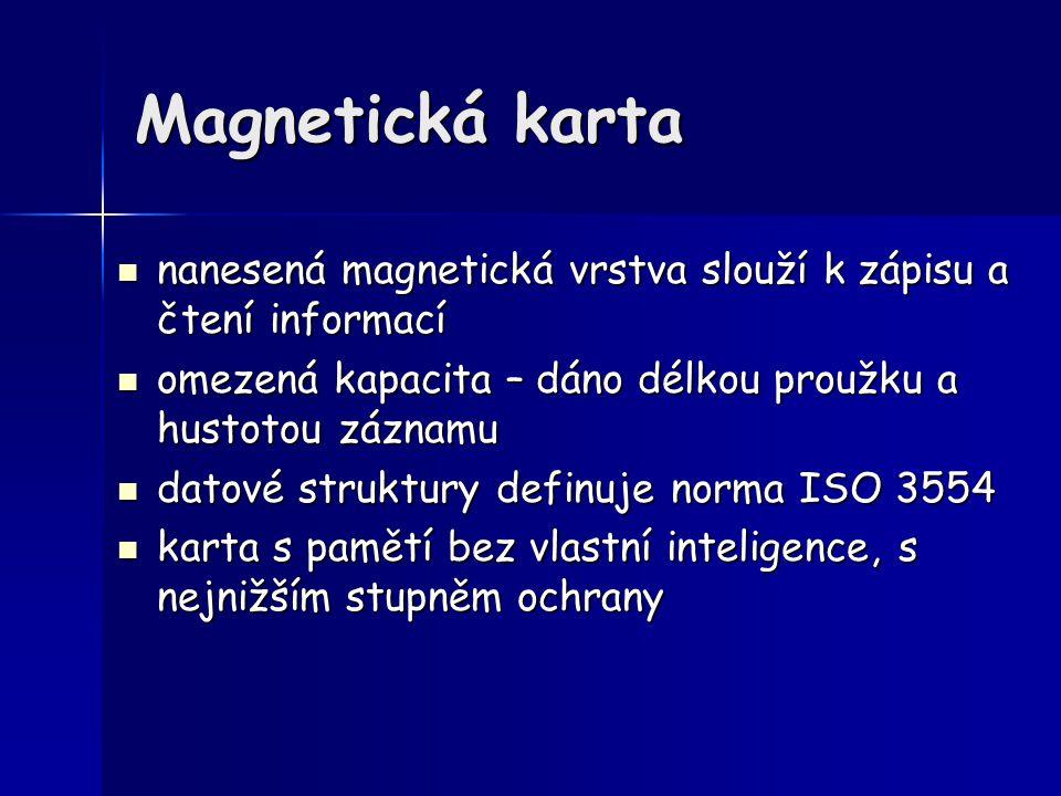 Magnetická karta nanesená magnetická vrstva slouží k zápisu a čtení informací nanesená magnetická vrstva slouží k zápisu a čtení informací omezená kap