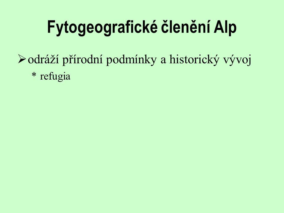 Fytogeografické členění Alp  odráží přírodní podmínky a historický vývoj *refugia