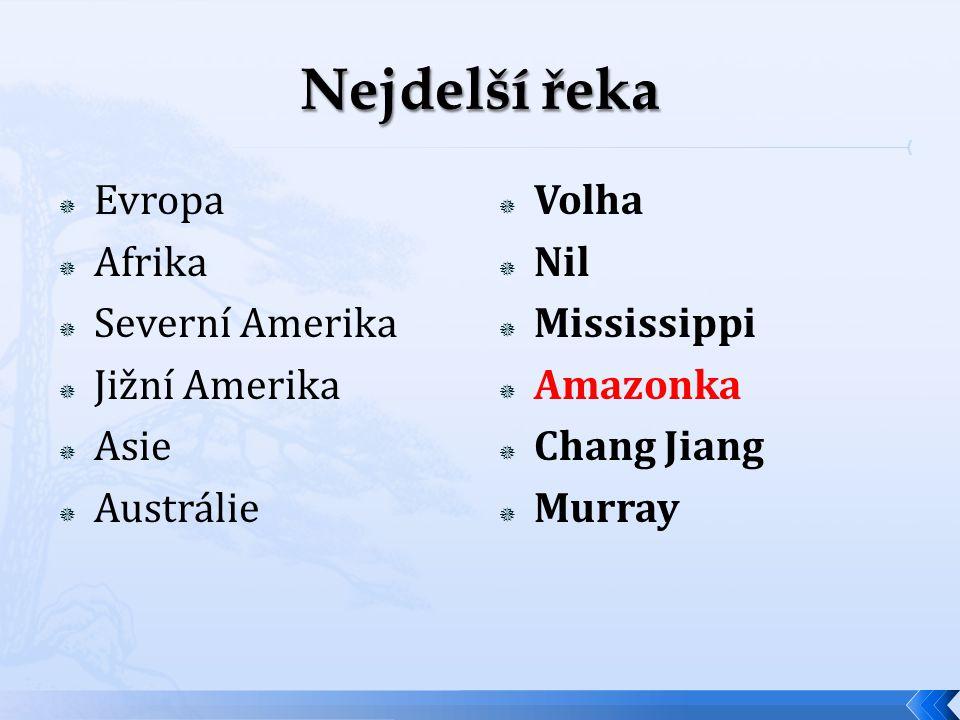  Evropa  Afrika  Severní Amerika  Jižní Amerika  Asie  Austrálie  Volha  Nil  Mississippi  Amazonka  Chang Jiang  Murray
