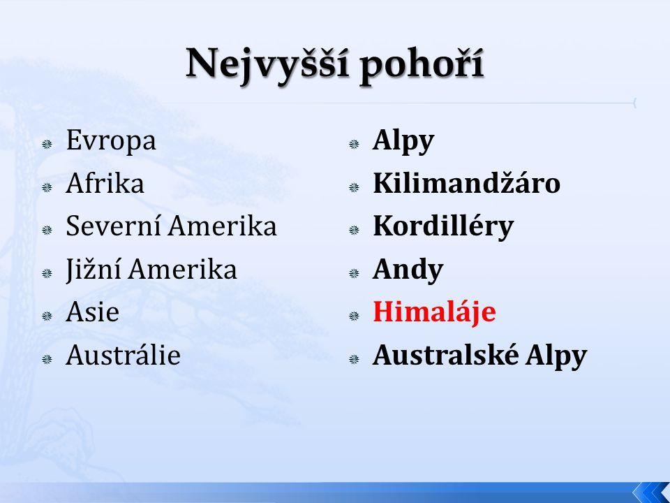  Evropa  Afrika  Severní Amerika  Jižní Amerika  Asie  Austrálie  Alpy  Kilimandžáro  Kordilléry  Andy  Himaláje  Australské Alpy