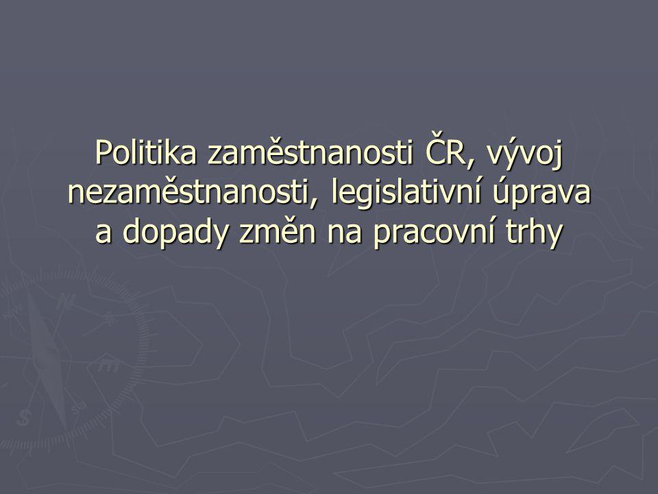 Politika zaměstnanosti ČR, vývoj nezaměstnanosti, legislativní úprava a dopady změn na pracovní trhy