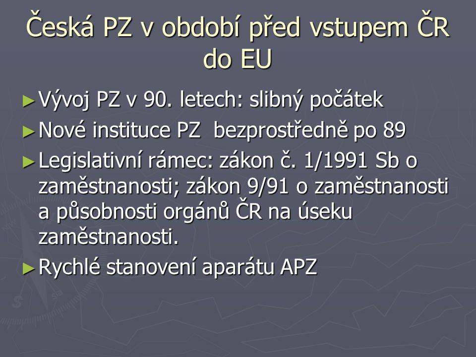 Česká PZ v období před vstupem ČR do EU ► Vývoj PZ v 90.