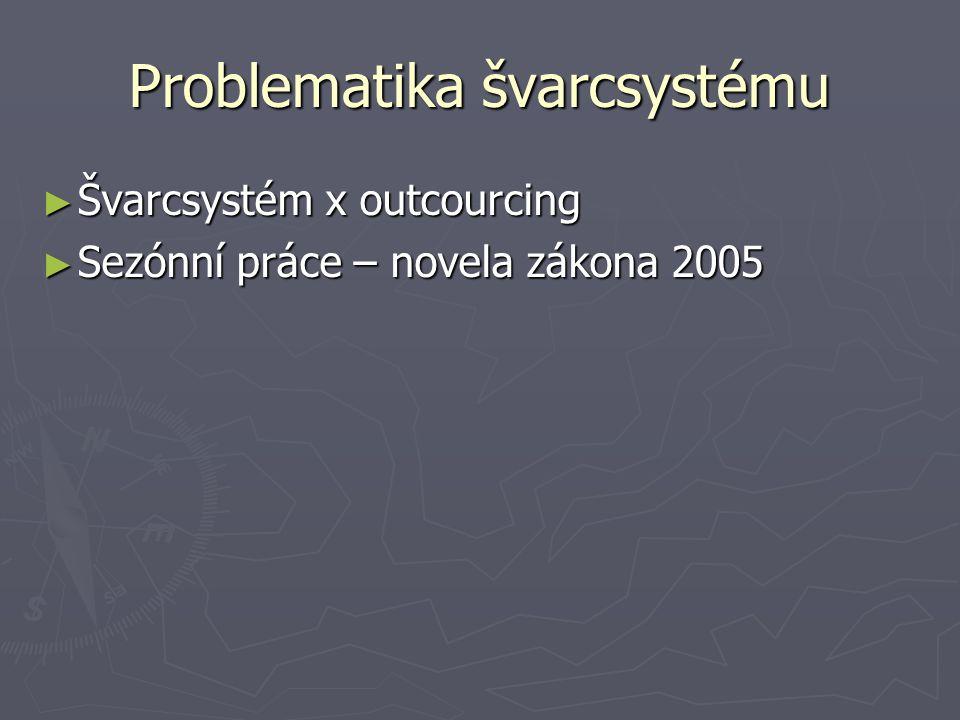 Problematika švarcsystému ► Švarcsystém x outcourcing ► Sezónní práce – novela zákona 2005
