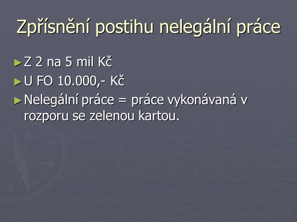 Zpřísnění postihu nelegální práce ► Z 2 na 5 mil Kč ► U FO 10.000,- Kč ► Nelegální práce = práce vykonávaná v rozporu se zelenou kartou.