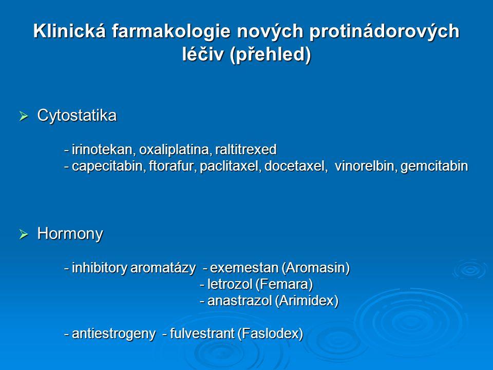 Klinická farmakologie nových protinádorových léčiv (přehled)  Cytostatika - irinotekan, oxaliplatina, raltitrexed - irinotekan, oxaliplatina, raltitr