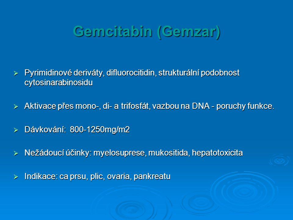 Gemcitabin (Gemzar)  Pyrimidinové deriváty, difluorocitidin, strukturální podobnost cytosinarabinosidu  Aktivace přes mono-, di- a trifosfát, vazbou