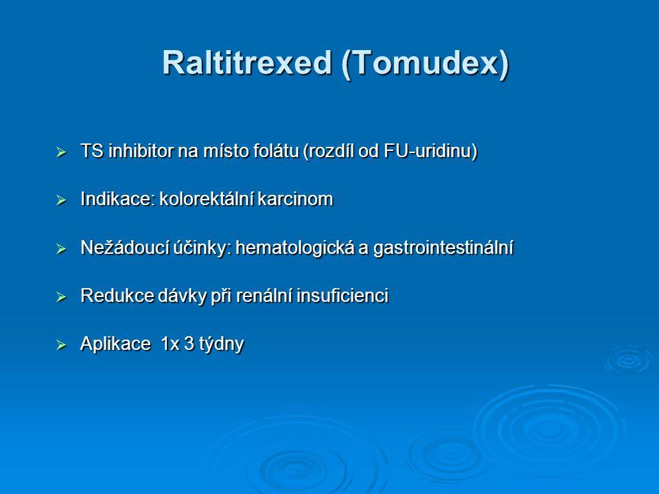 Raltitrexed (Tomudex)  TS inhibitor na místo folátu (rozdíl od FU-uridinu)  Indikace: kolorektální karcinom  Nežádoucí účinky: hematologická a gast