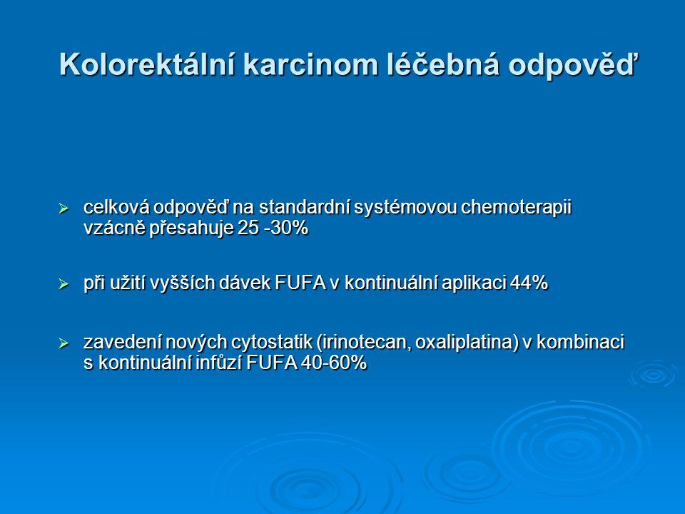 Kolorektální karcinom léčebná odpověď  celková odpověď na standardní systémovou chemoterapii vzácně přesahuje 25 -30%  při užití vyšších dávek FUFA