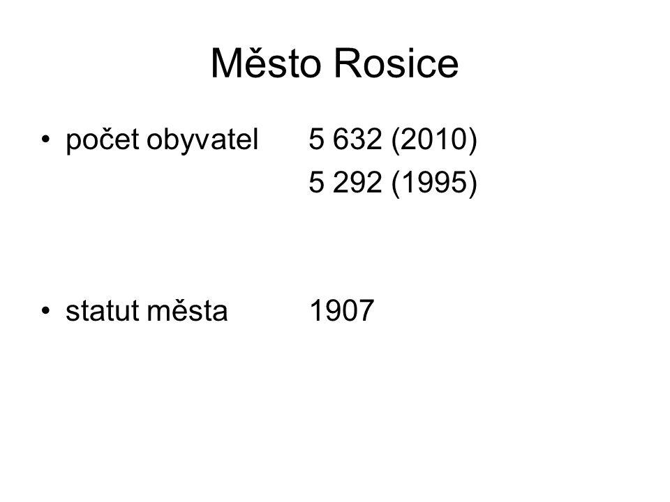 Město Rosice počet obyvatel5 632 (2010) 5 292 (1995) statut města1907