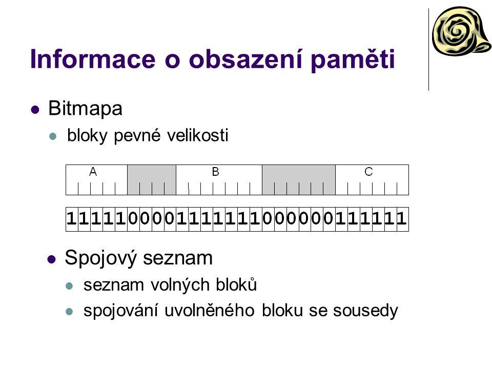 Informace o obsazení paměti Bitmapa bloky pevné velikosti Spojový seznam seznam volných bloků spojování uvolněného bloku se sousedy