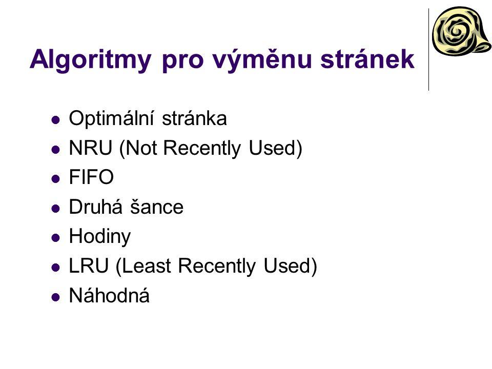Algoritmy pro výměnu stránek Optimální stránka NRU (Not Recently Used) FIFO Druhá šance Hodiny LRU (Least Recently Used) Náhodná