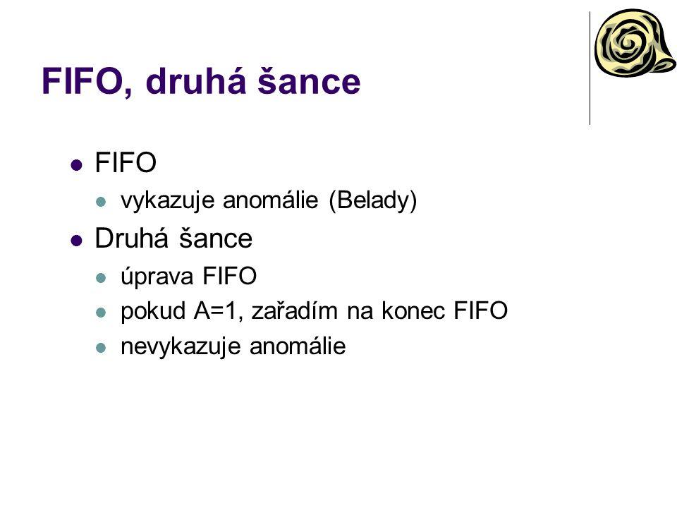 FIFO, druhá šance FIFO vykazuje anomálie (Belady) Druhá šance úprava FIFO pokud A=1, zařadím na konec FIFO nevykazuje anomálie