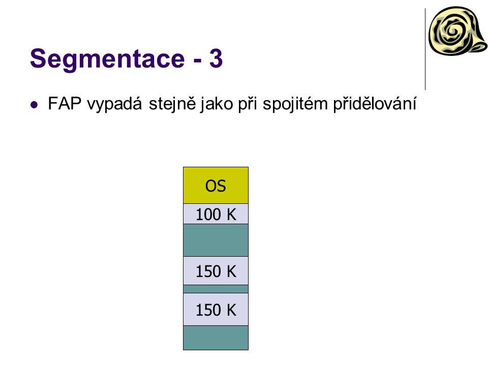 Segmentace - 3 FAP vypadá stejně jako při spojitém přidělování OS 100 K 150 K