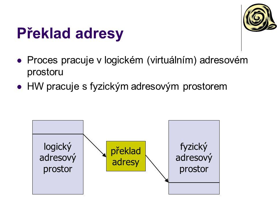 Překlad adresy Proces pracuje v logickém (virtuálním) adresovém prostoru HW pracuje s fyzickým adresovým prostorem logický adresový prostor fyzický ad