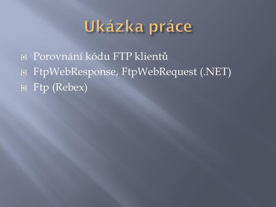  Porovnání kódu FTP klientů  FtpWebResponse, FtpWebRequest (.NET)  Ftp (Rebex)