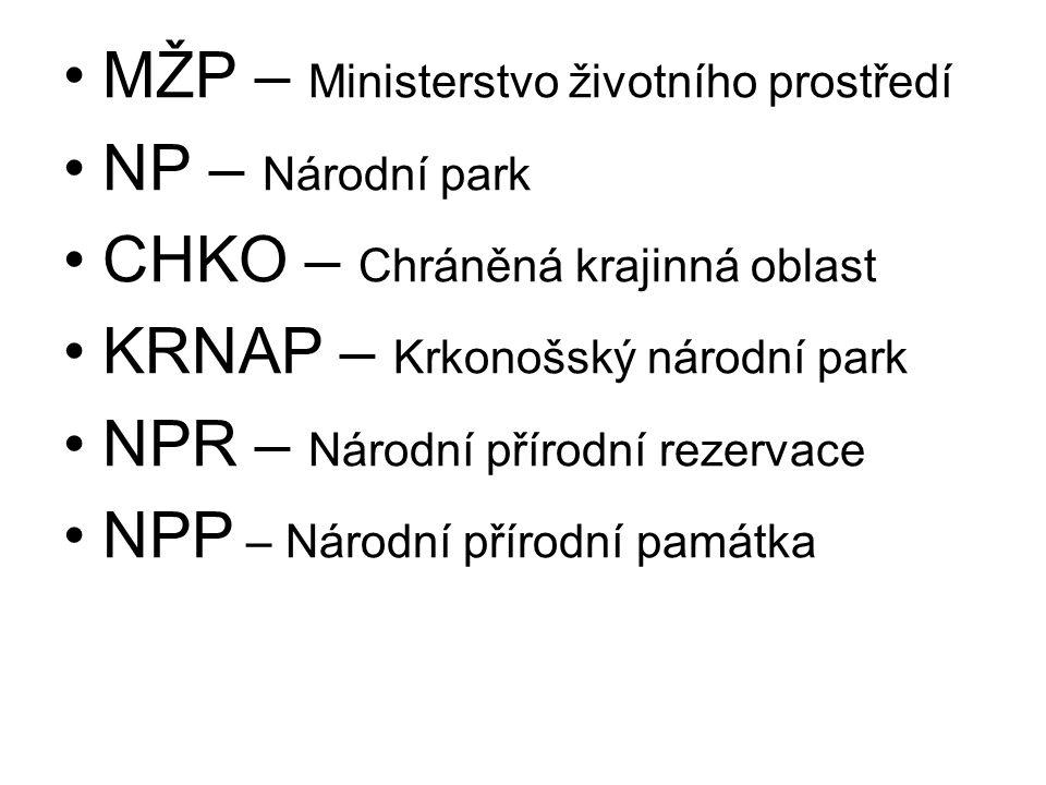 MŽP – Ministerstvo životního prostředí NP – Národní park CHKO – Chráněná krajinná oblast KRNAP – Krkonošský národní park NPR – Národní přírodní rezervace NPP – Národní přírodní památka