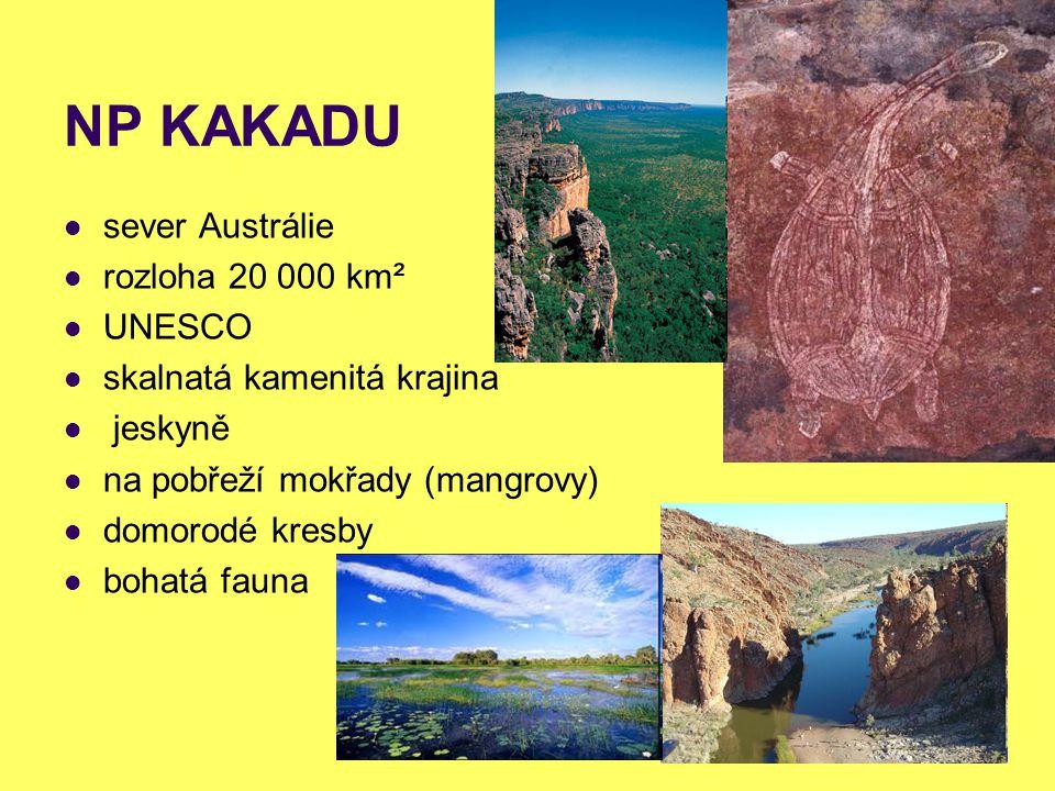 NP KAKADU sever Austrálie rozloha 20 000 km² UNESCO skalnatá kamenitá krajina jeskyně na pobřeží mokřady (mangrovy) domorodé kresby bohatá fauna