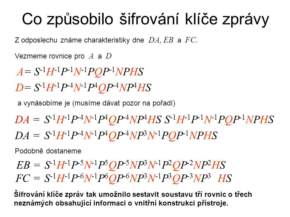 Co způsobilo šifrování klíče zprávy Z odposlechu známe charakteristiky dne DA, EB a FC.