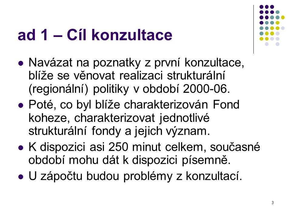 3 ad 1 – Cíl konzultace Navázat na poznatky z první konzultace, blíže se věnovat realizaci strukturální (regionální) politiky v období 2000-06. Poté,
