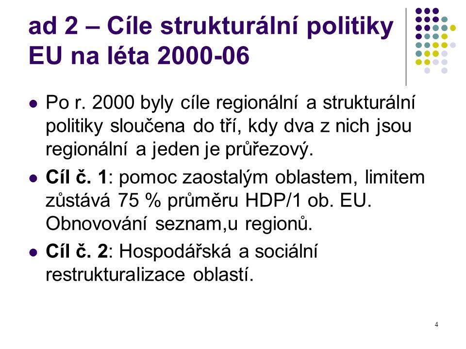 4 ad 2 – Cíle strukturální politiky EU na léta 2000-06 Po r. 2000 byly cíle regionální a strukturální politiky sloučena do tří, kdy dva z nich jsou re