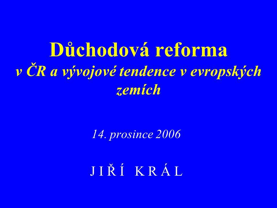Důchodová reforma v ČR a vývojové tendence v evropských zemích 14. prosince 2006 J I Ř Í K R Á L