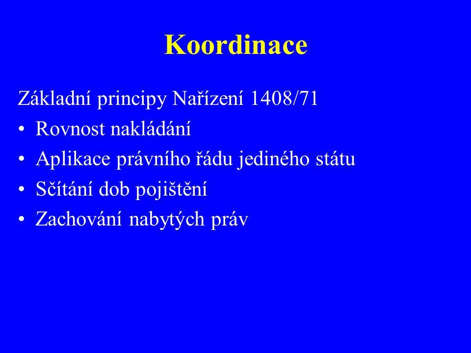 Koordinace Základní principy Nařízení 1408/71 Rovnost nakládání Aplikace právního řádu jediného státu Sčítání dob pojištění Zachování nabytých práv