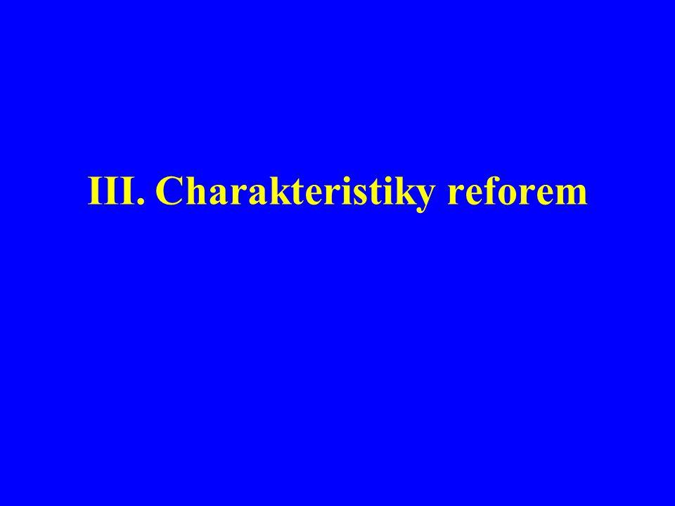 III.Charakteristiky reforem
