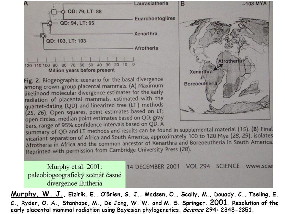 Murphy, W. J., Eizirik, E., O'Brien, S. J., Madsen, O., Scally, M., Douady, C., Teeling, E. C., Ryder, O. A., Stanhope, M., De Jong, W. W. and M. S. S