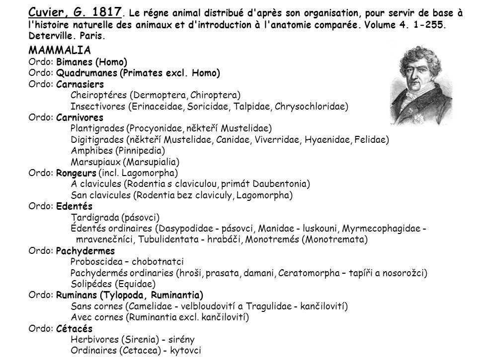 Cuvier, G. 1817. Le régne animal distribué d'après son organisation, pour servir de base à l'histoire naturelle des animaux et d'introduction à l'anat
