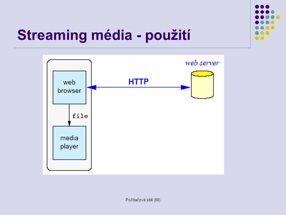 Počítačové sítě (90) Streaming média - použití