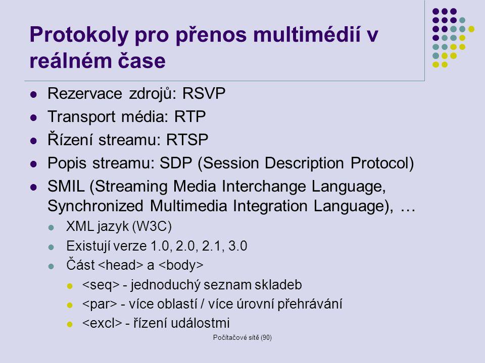 Počítačové sítě (90) Protokoly pro přenos multimédií v reálném čase Rezervace zdrojů: RSVP Transport média: RTP Řízení streamu: RTSP Popis streamu: SD