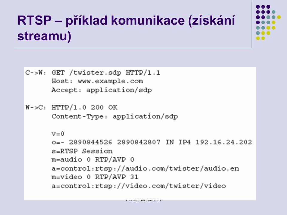 Počítačové sítě (90) RTSP – příklad komunikace (získání streamu)