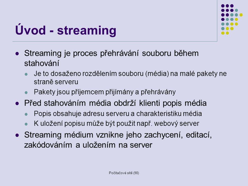 Počítačové sítě (90) Metody doručování On-demand (na přání) Uživatel se připojí k serveru a přehraje si soubor Podporuje operace pro manipulaci s médii (start, stop, pause, rewind, forward, … ) Live (živý přenos) Uživatel se připojí k serveru a přijímá stream Nevyžaduje operace pro manipulaci s médiem Existuje několik distribučních metod Simulated live (simulovaný živý přenos) Přehrávání předem zachyceného streamu bez možnosti ovlivnit jeho přenášení