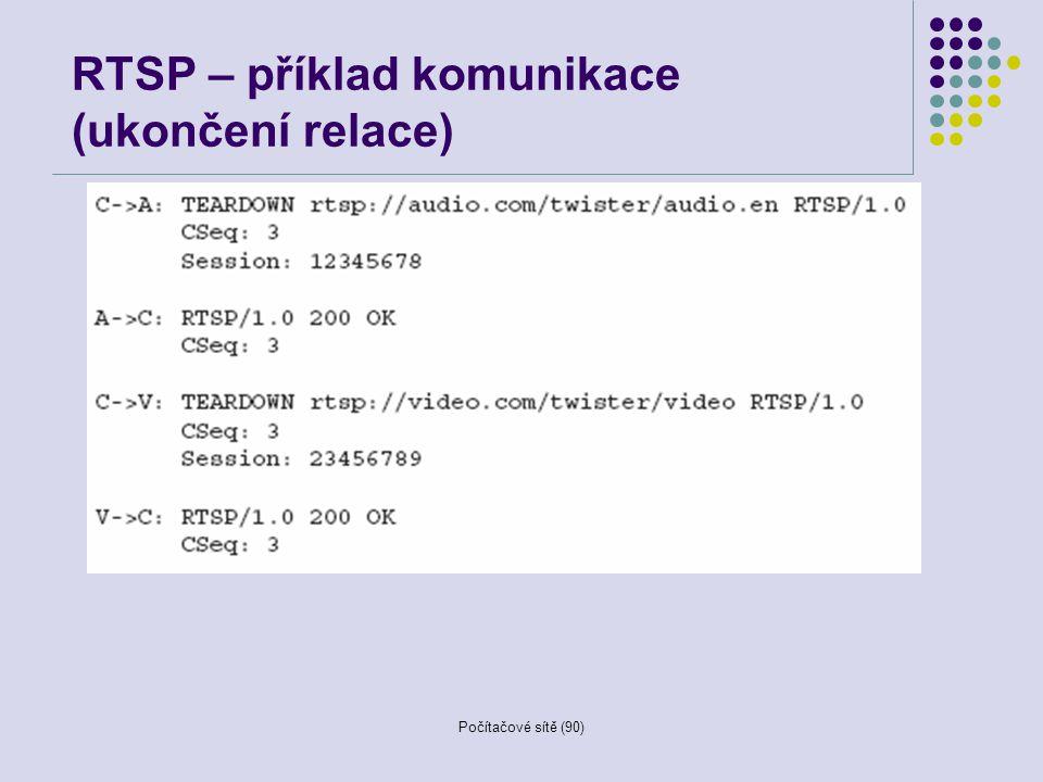 Počítačové sítě (90) RTSP – příklad komunikace (ukončení relace)