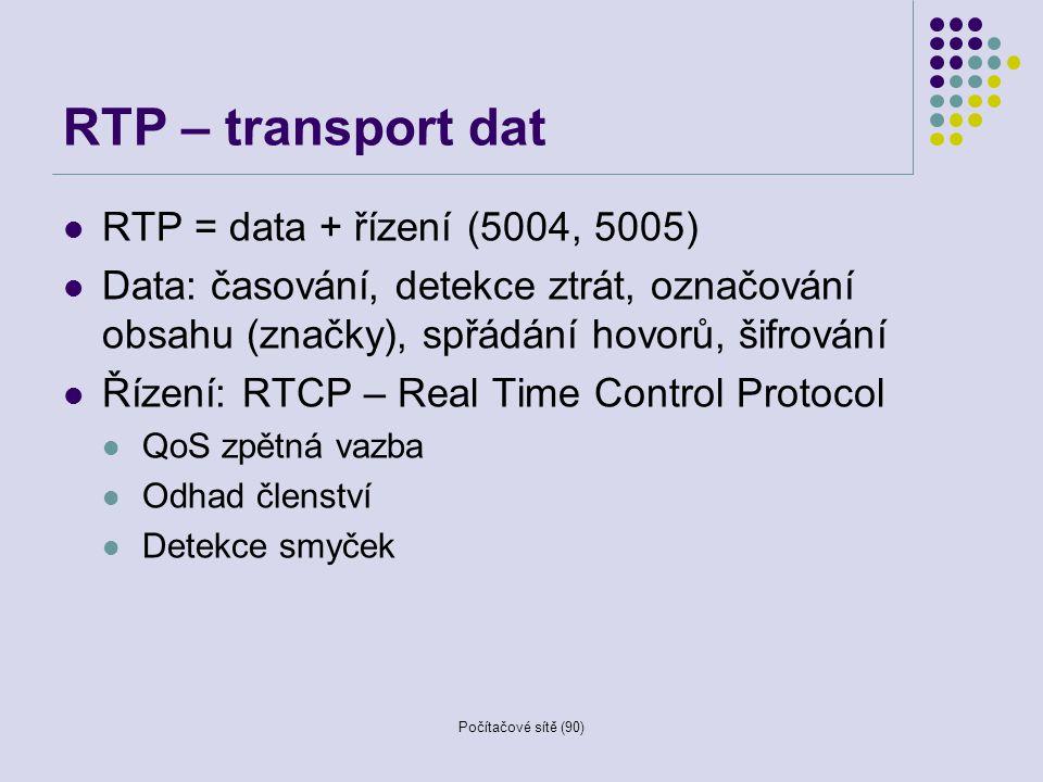 Počítačové sítě (90) RTP – transport dat RTP = data + řízení (5004, 5005) Data: časování, detekce ztrát, označování obsahu (značky), spřádání hovorů,