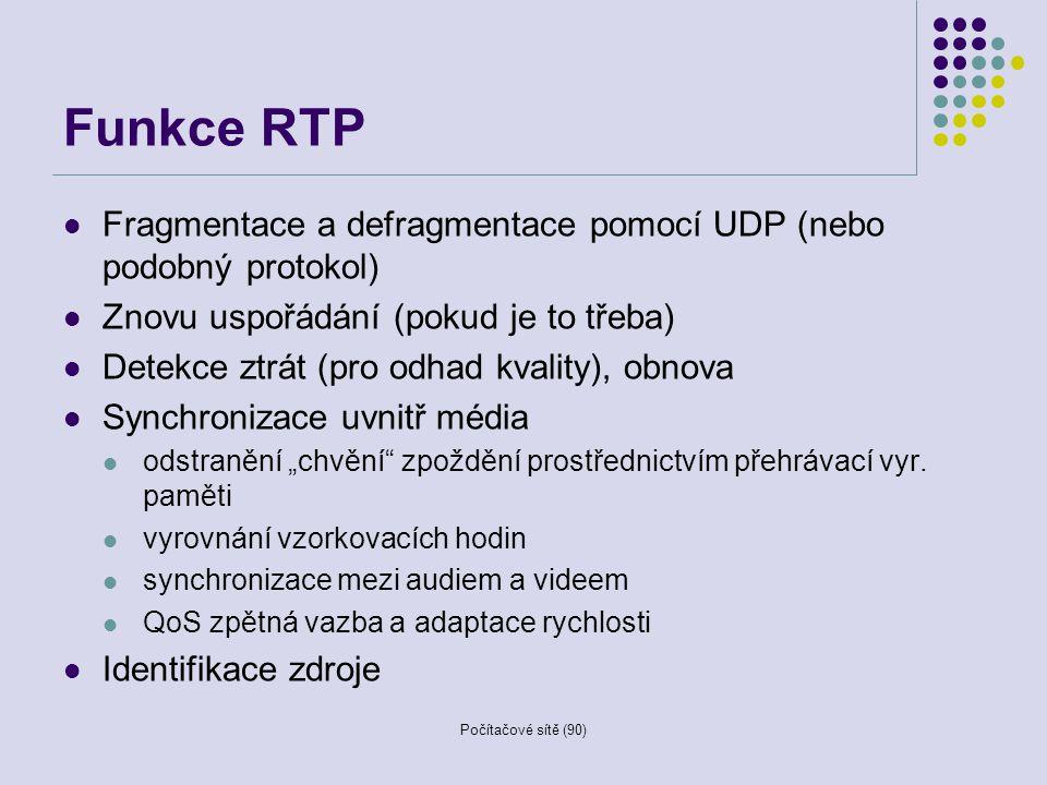 Počítačové sítě (90) Funkce RTP Fragmentace a defragmentace pomocí UDP (nebo podobný protokol) Znovu uspořádání (pokud je to třeba) Detekce ztrát (pro