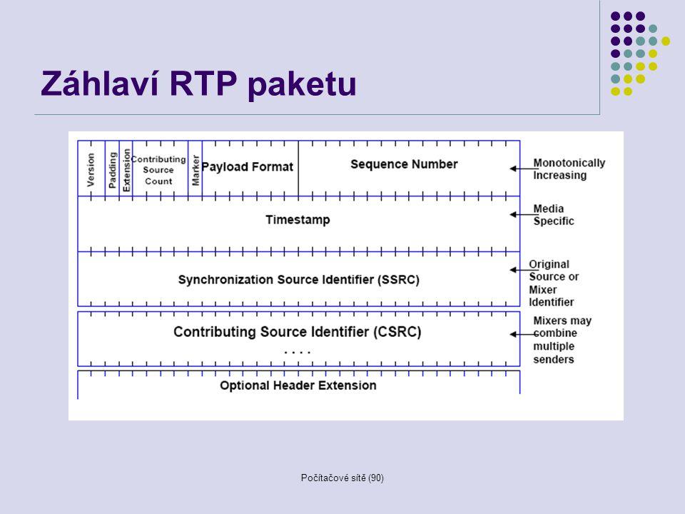 Počítačové sítě (90) Záhlaví RTP paketu