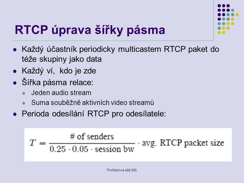 Počítačové sítě (90) RTCP úprava šířky pásma Každý účastník periodicky multicastem RTCP paket do téže skupiny jako data Každý ví, kdo je zde Šířka pás