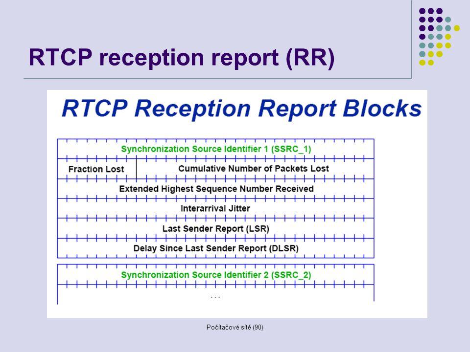 Počítačové sítě (90) RTCP reception report (RR)