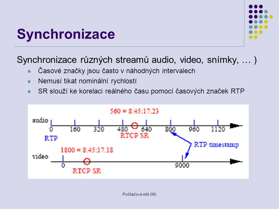 Počítačové sítě (90) Synchronizace Synchronizace různých streamů audio, video, snímky, … ) Časové značky jsou často v náhodných intervalech Nemusí tik