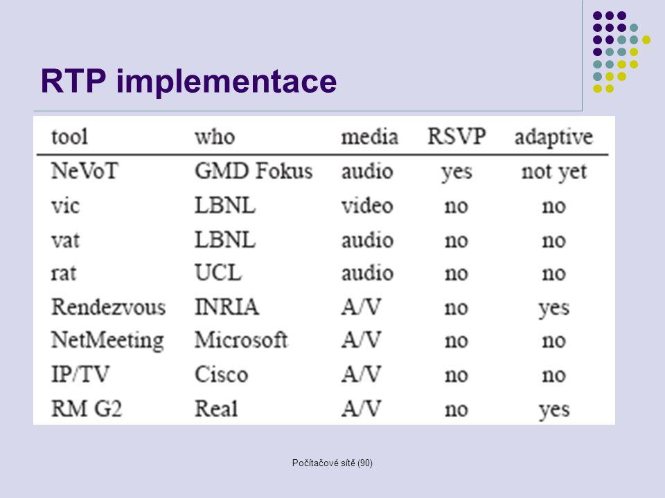 Počítačové sítě (90) RTP implementace