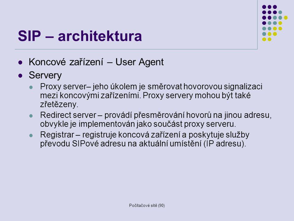 Počítačové sítě (90) SIP – architektura Koncové zařízení – User Agent Servery Proxy server– jeho úkolem je směrovat hovorovou signalizaci mezi koncový