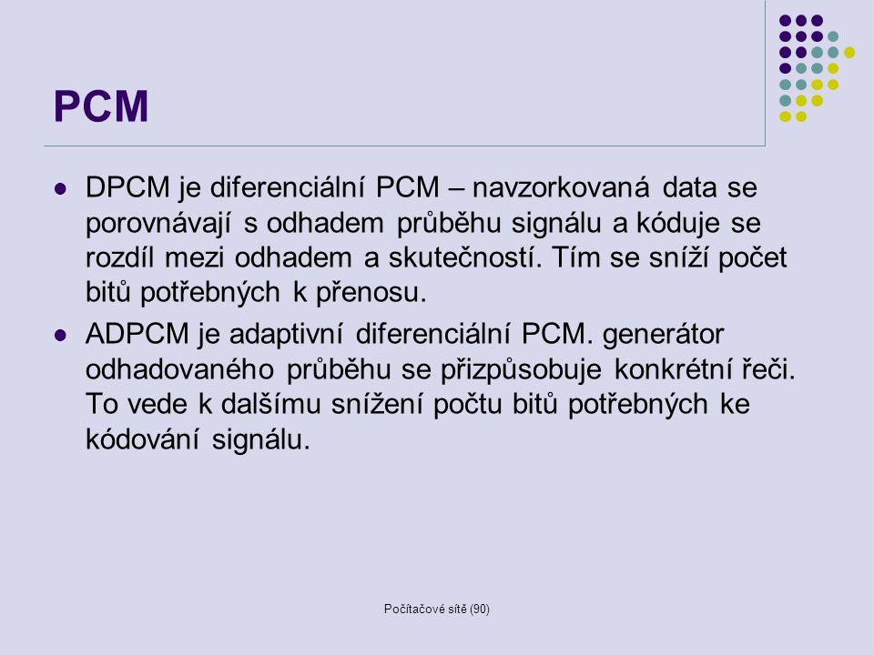 Počítačové sítě (90) PCM DPCM je diferenciální PCM – navzorkovaná data se porovnávají s odhadem průběhu signálu a kóduje se rozdíl mezi odhadem a skut
