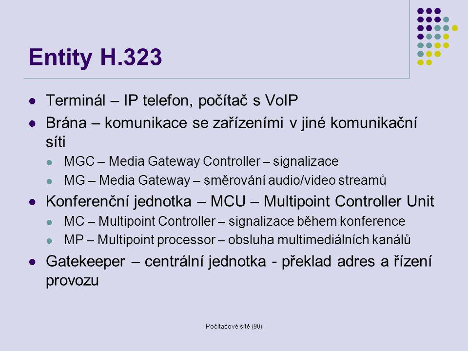Počítačové sítě (90) Entity H.323 Terminál – IP telefon, počítač s VoIP Brána – komunikace se zařízeními v jiné komunikační síti MGC – Media Gateway C